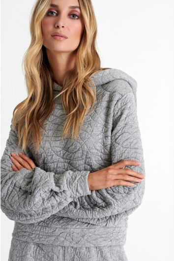 Puff sleeve quilted cotton jersey hoodie