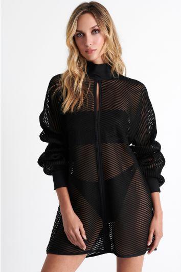 Modern ribbed mesh tunic
