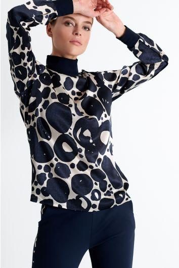 Mock neck silk blouse