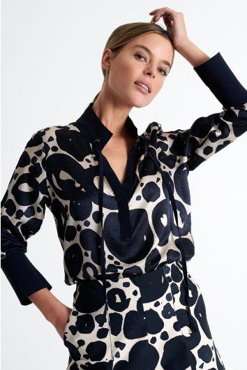 Mock neckline blouse