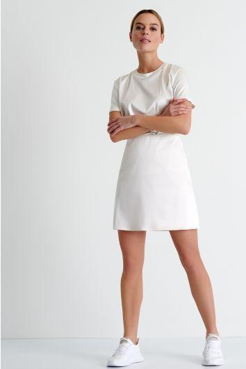 Mini belted satin skirt