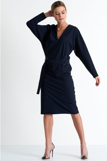 Belted mid-length dress