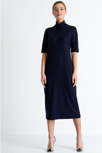 Short sleeve mock neck midi dress