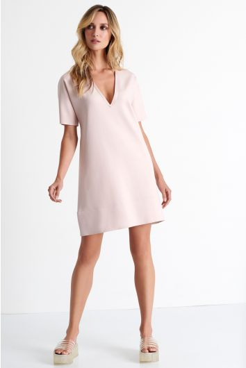 Deep plunging neckline mini dress