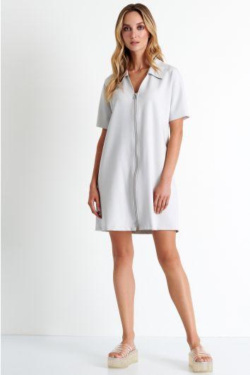 Robe zippée à col chemise