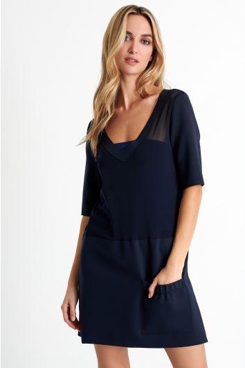 V-neck mesh dress