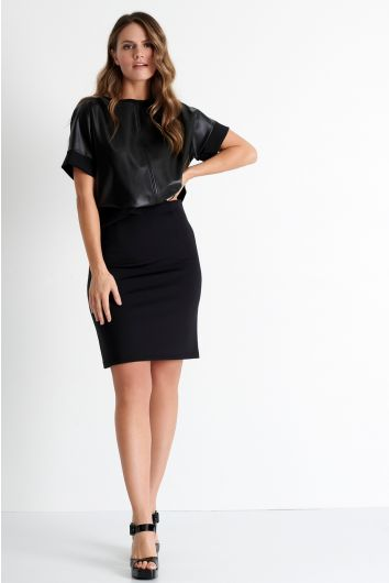 Pencil skirt with vegan leather detail