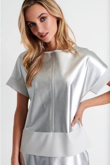 Vegan leather short sleeve top