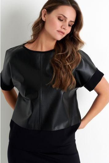 Vegan leather short sleeve top