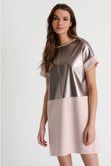 Rounded neckline mini dress