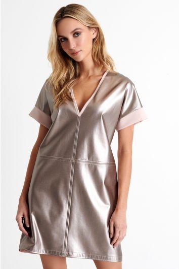 Plunging V neckline mini dress