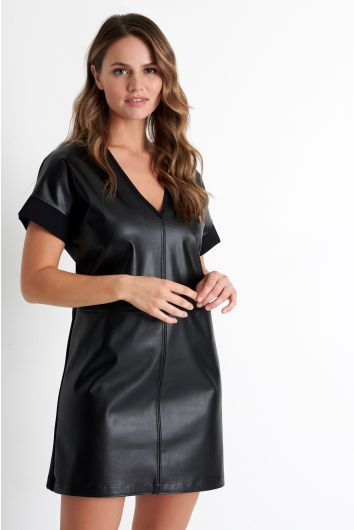 Plunging V neckline mini dress