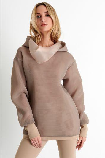 Hooded mesh sweatshirt