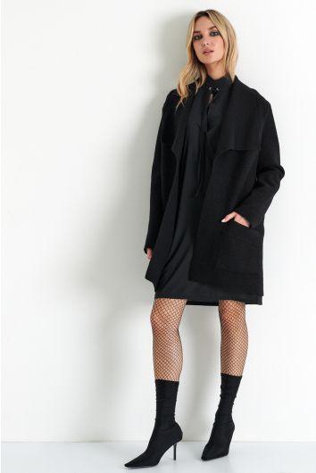 Lapel collar wool jacket