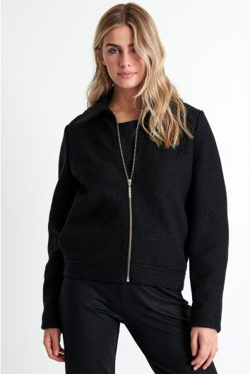 Zip-up wool jacket