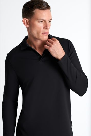 Long sleeve textured jersey polo