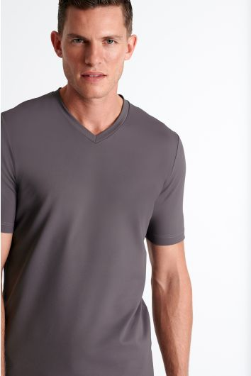 Textured jersey V neck
