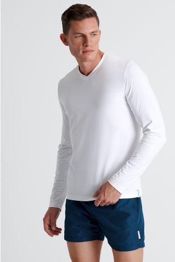 Col V à manches longues en jersey piqué