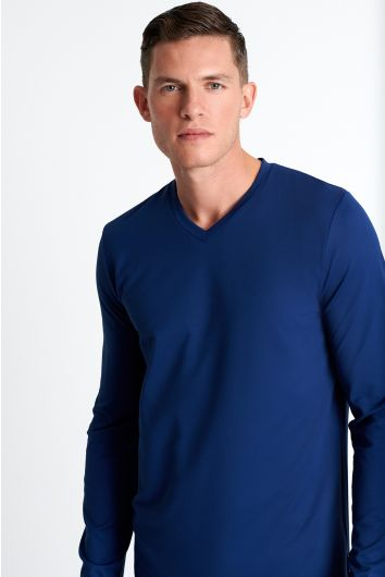 Textured jersey long sleeve V neck