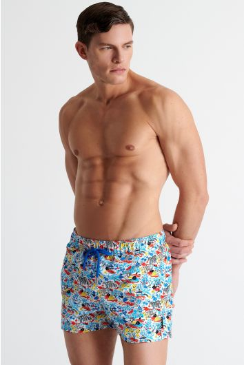 Short fit traditional swim trunks