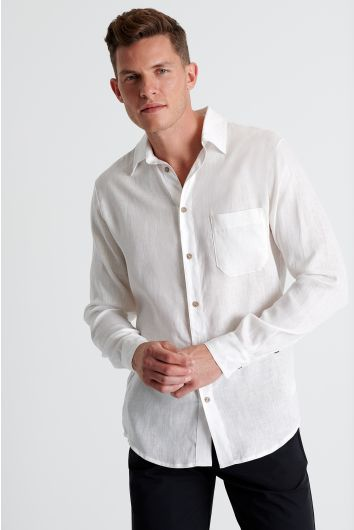 Button down linen blend shirt