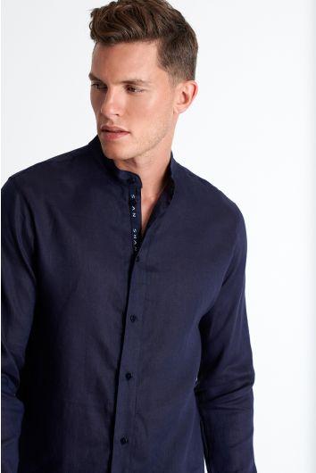Button down linen blend shirt